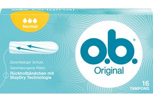 Imagem de uma embalagem de o.b.® Original Normal. O produto tem três gotículas, que indicam que é recomendado para fluxo moderado.