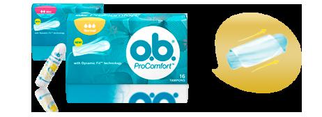 Imagem de uma embalagem de O.B.® ProComfort™.
